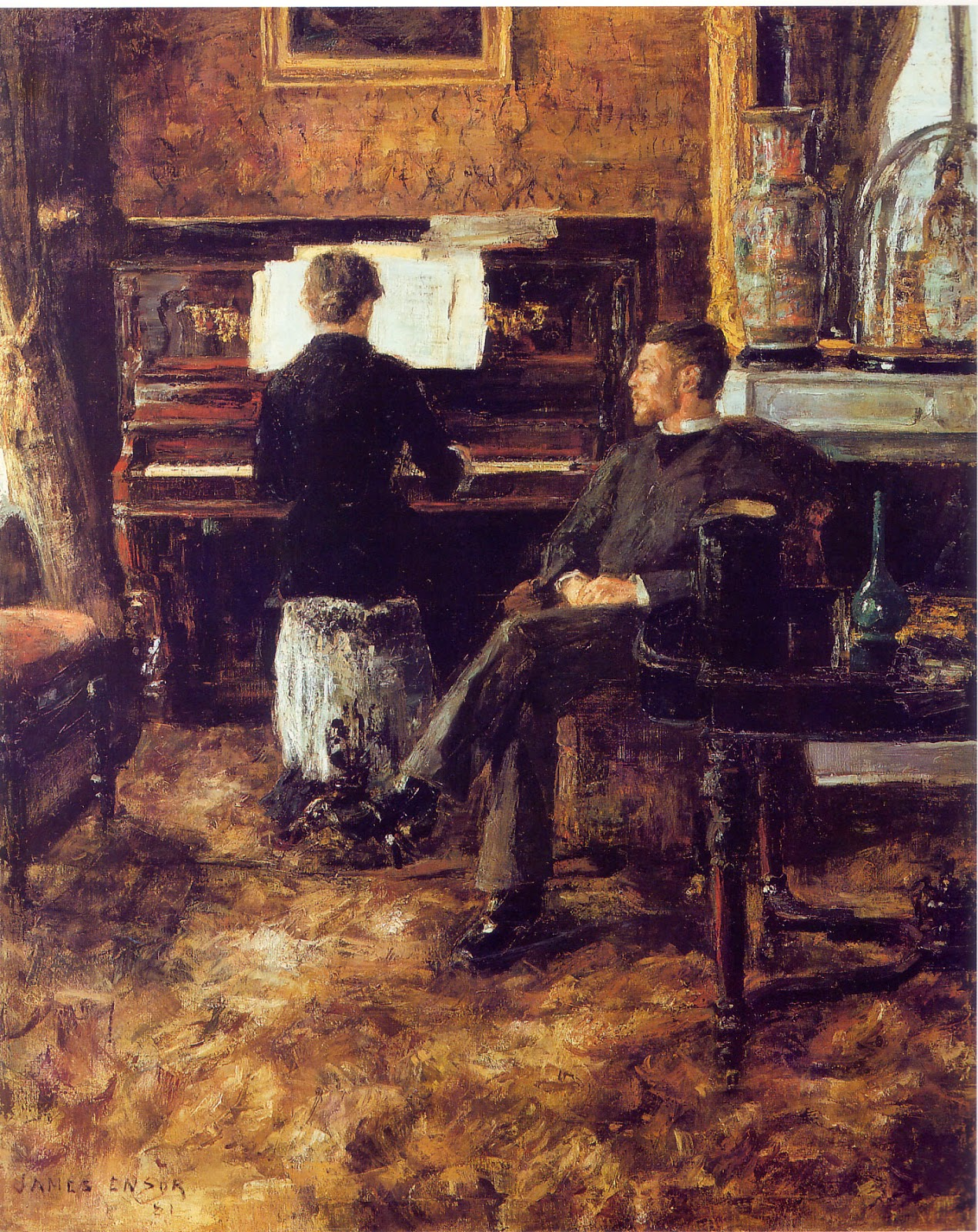 James Ensor's  Russian Music  (1881) Looks like either a very comfy carpet or a very uncomfy one.  Image source