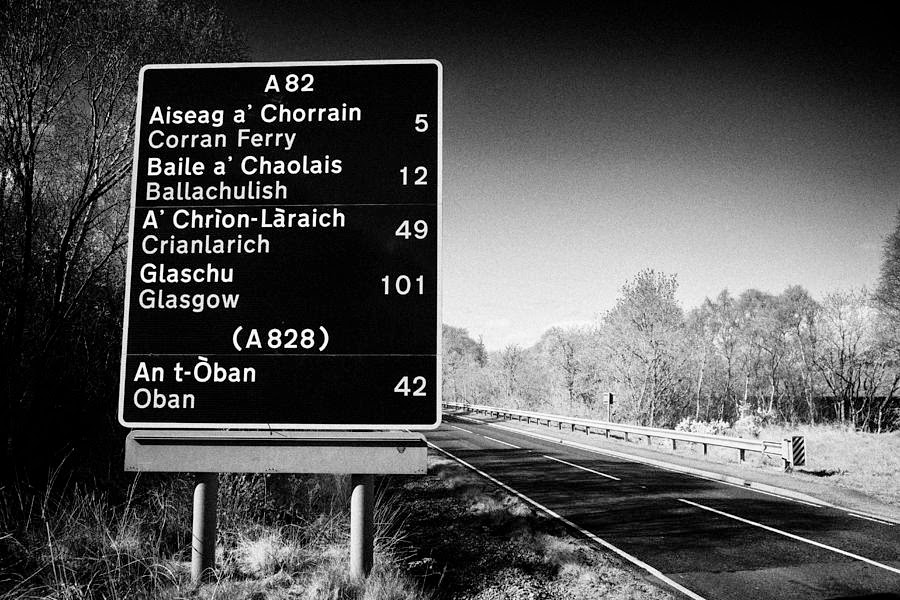 Credit: Joe Fox,  A82 Bi-lingual Scottish Gaelic English Road Sign Scotland Uk   Link.