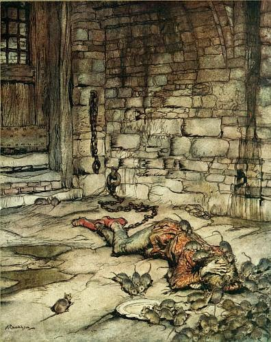 """Young Beckie"" by Rackham. I'm sure the swarm of rats is only playing with that rascally rogue, Beckian..."