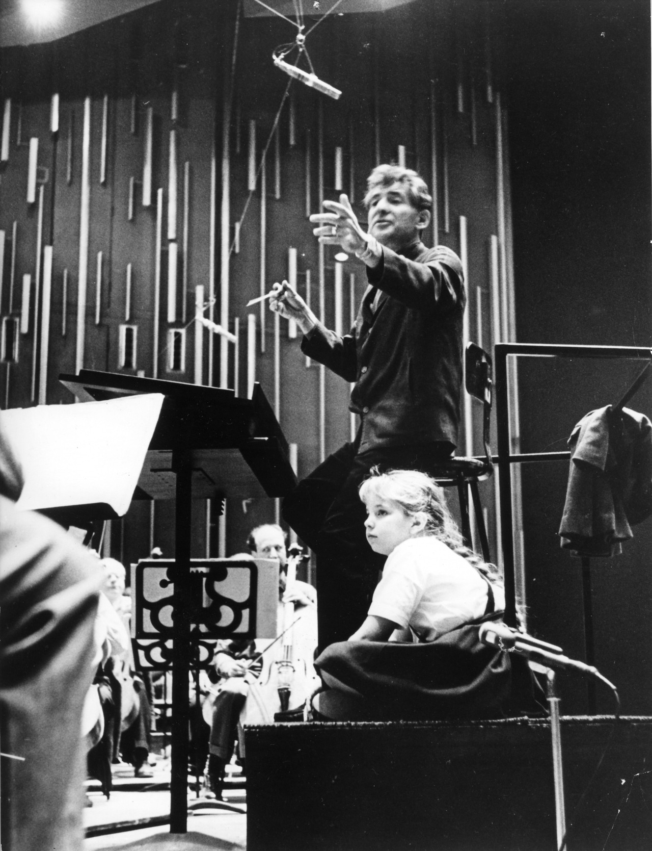 Conductor/composer Leonard Bernstein (1918-1990) directed the NYPhil's Young Person's Concerts from 1958-72, which were broadcasted on TV. Iconic.
