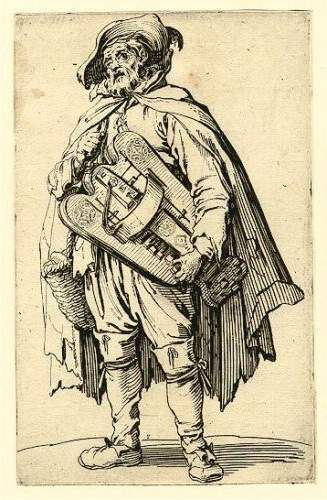 Illustration by Jacques Callo from circa 1624. Demonstrating the lifestyle choices of the devoted hurdy-gurdy artist/mendicant.