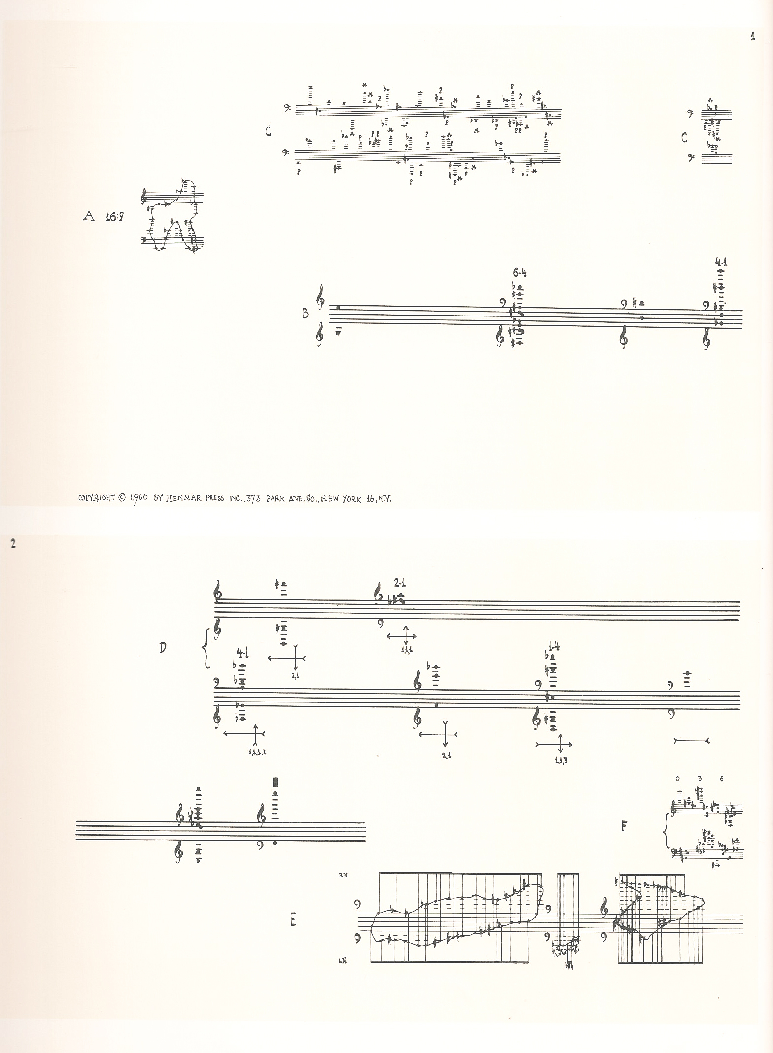 A page from Cage's Concert for Piano and Orchestra.