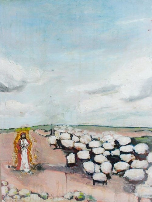 Not One Is Alone / Shepherded by Beth Allen.  Her stirring art can be found here.
