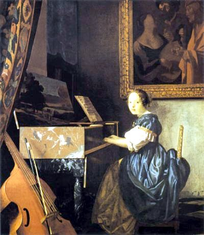Vermeer's  Young Woman Seated at a Virginal  (1670-72). And after that scales and arpeggios on the viol. Then lunch.