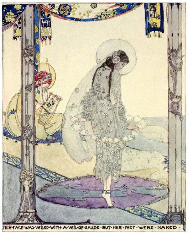 An illustration by Scottish-born artist Jessie Marion King (1875–1949) from the book  The Fisherman and His Soul .
