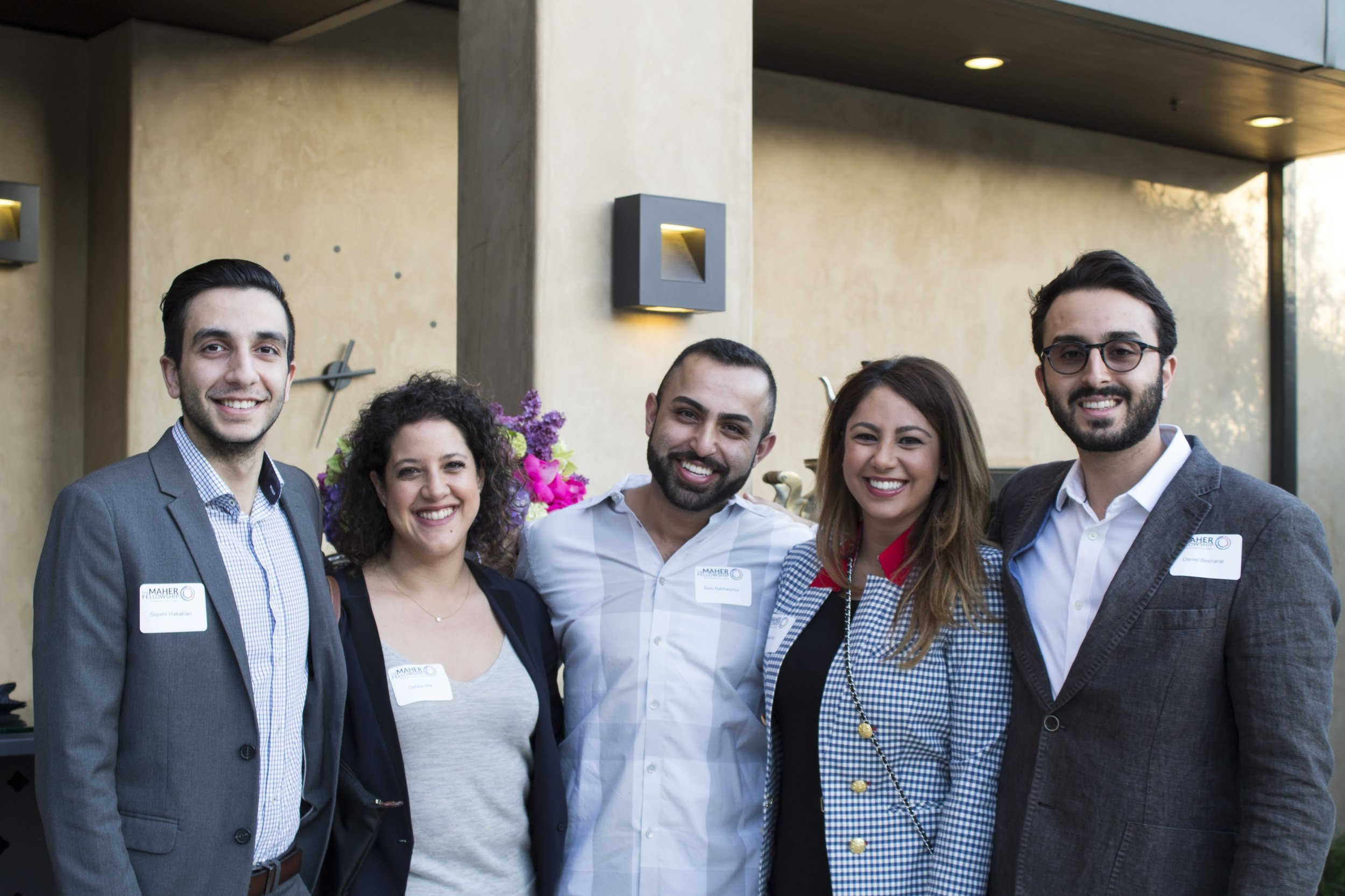 Participants of Cohort 4 at our event with the Consul General of Israel: Sepehr, Debbie, Sam, Debbie, and Daniel.