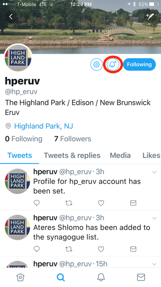 Now, click on the alert button to have Twitter notify you when there's a new message on  hperuv's  account.