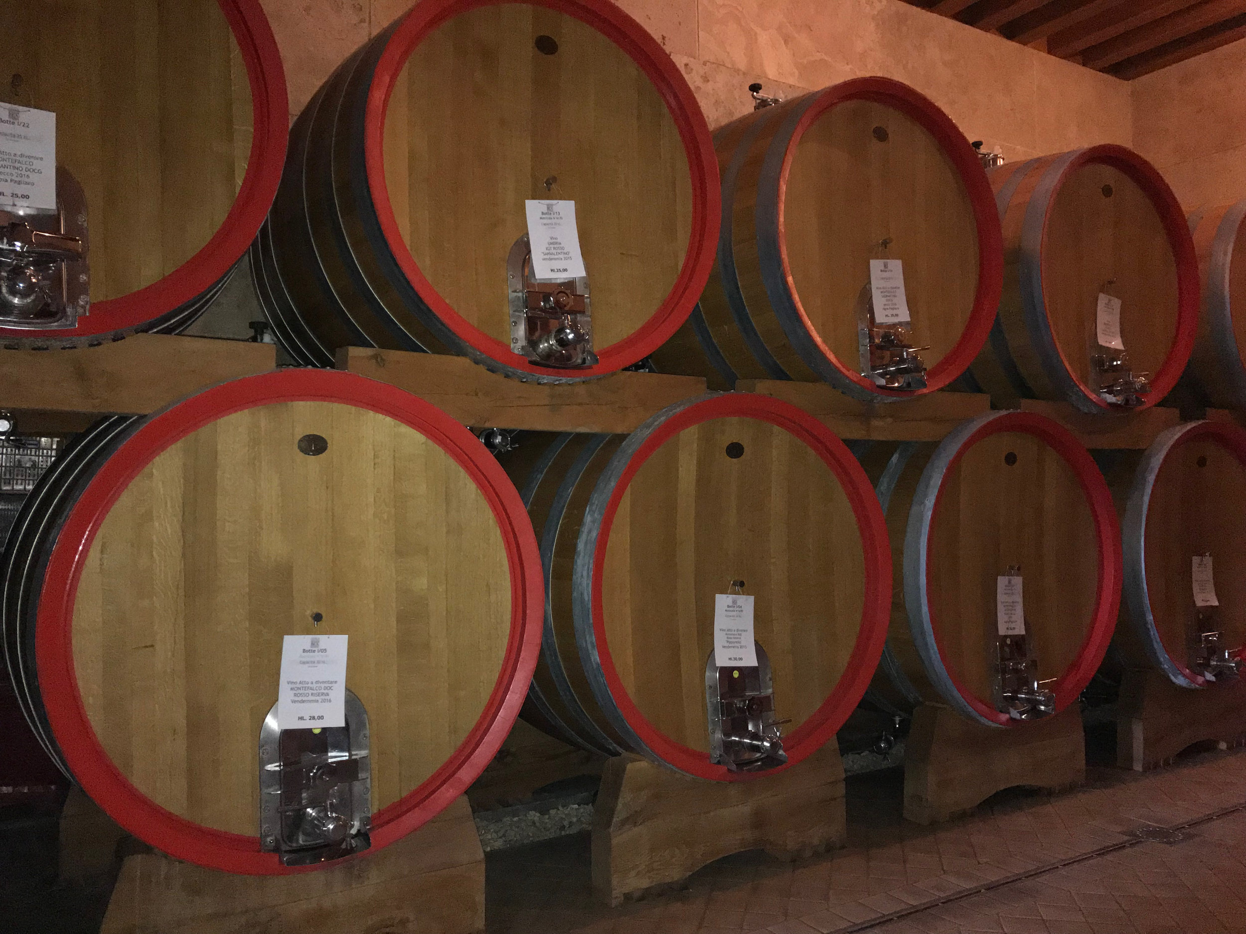 Wines maturing at Paolo Bea.