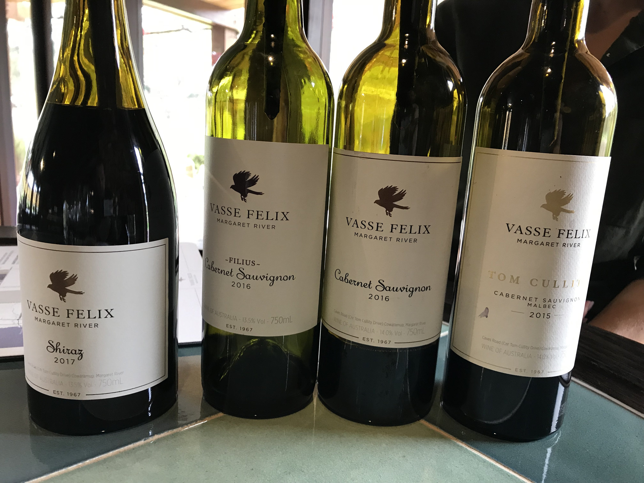A delicious selection of reds at Vasse Felix.