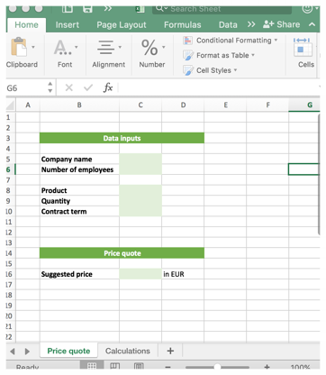 Template in Excel