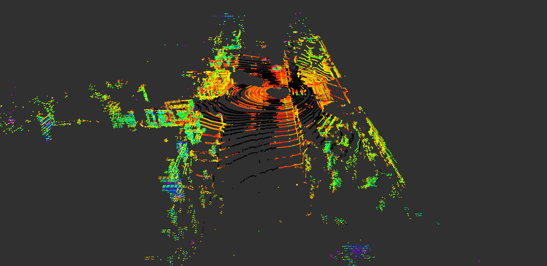 Point Cloud of outside world as detected by the Velodyne