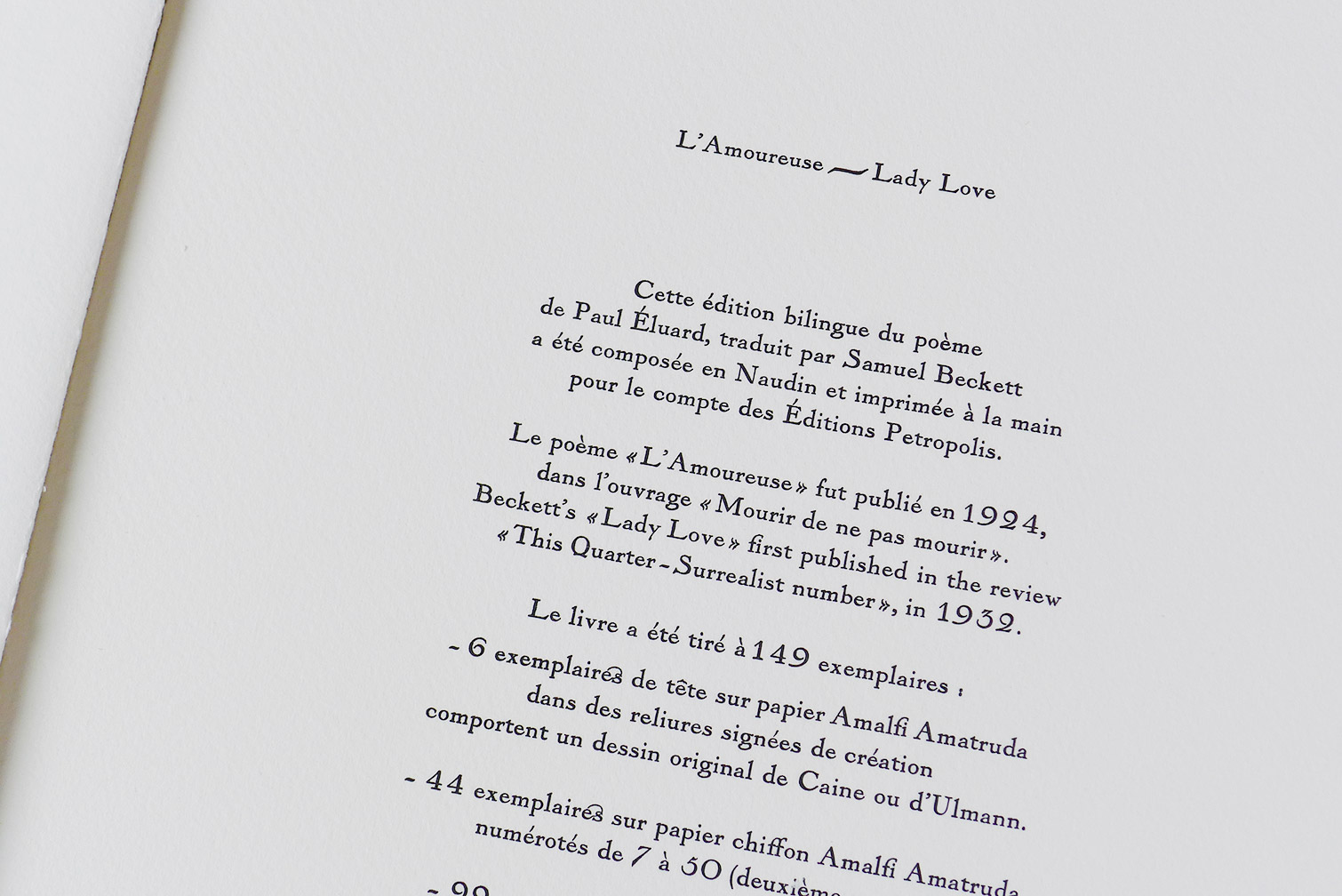 Paul Eluard Samuel Beckett Lamoureuse Lady Love