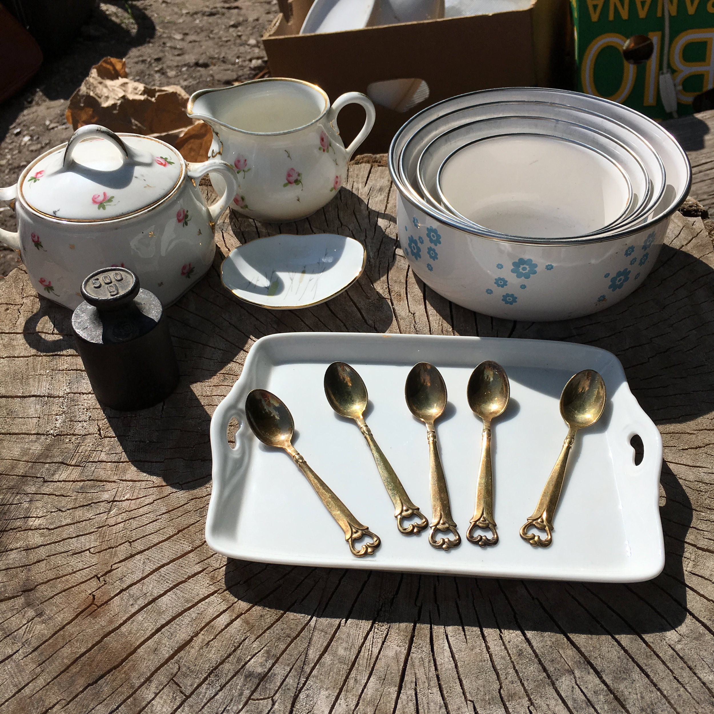 Sometimes you never know what will catch my fancy. I look for things that are both attractive and useful. I love hand painted porcelain ware and objects with a patina. I seem to have a knack for attracting demitasse spoons. They come home with me and with a bit of polish, they are brought back to life.