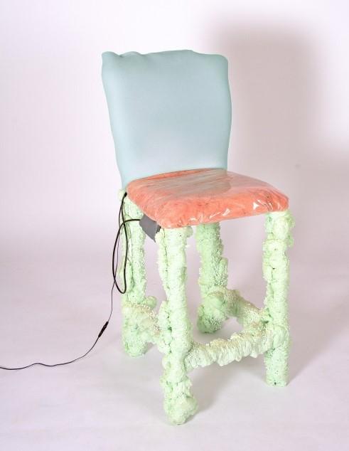 'It kind of feels like pouring a fizzy drink underneath your skin', 2017, Vibrating chair, fiberglass, vinyl, foam, polyurethane foam, 1000 x 400 x 440 mm