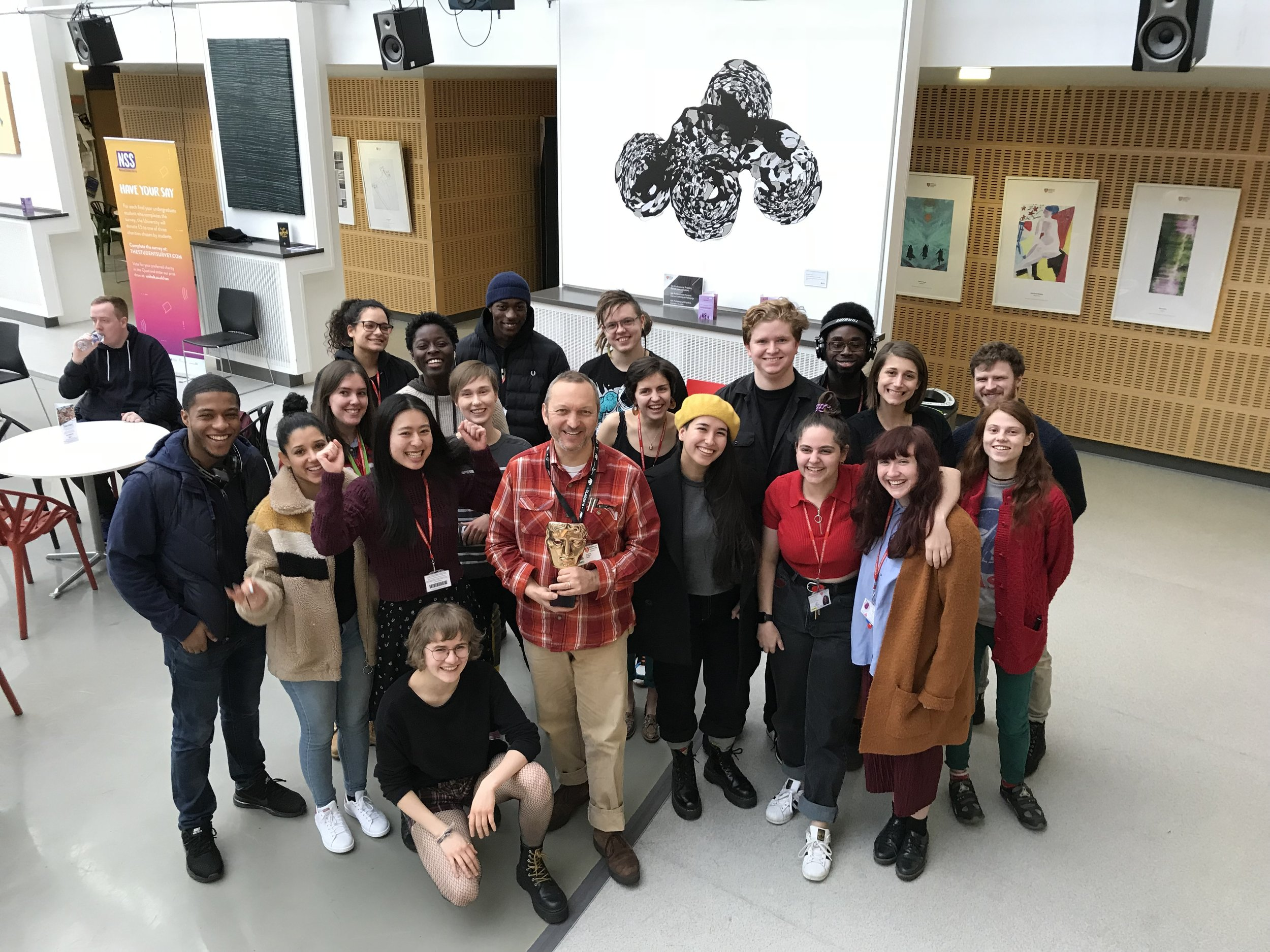 The BAFTA winner with MDX Animation Students