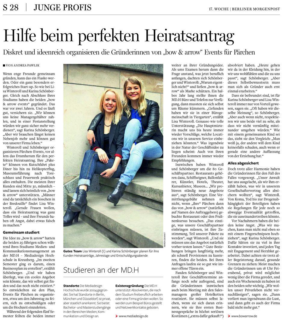 Berliner Morgenpost | Hilfe beim perfekten Heiratsantrag  26.04.2015 | Zeitungsartikel aus der Beilage BERUFE vom 26.04.2015 von der Autorin Andrea Pawlik www.morgenpost.de
