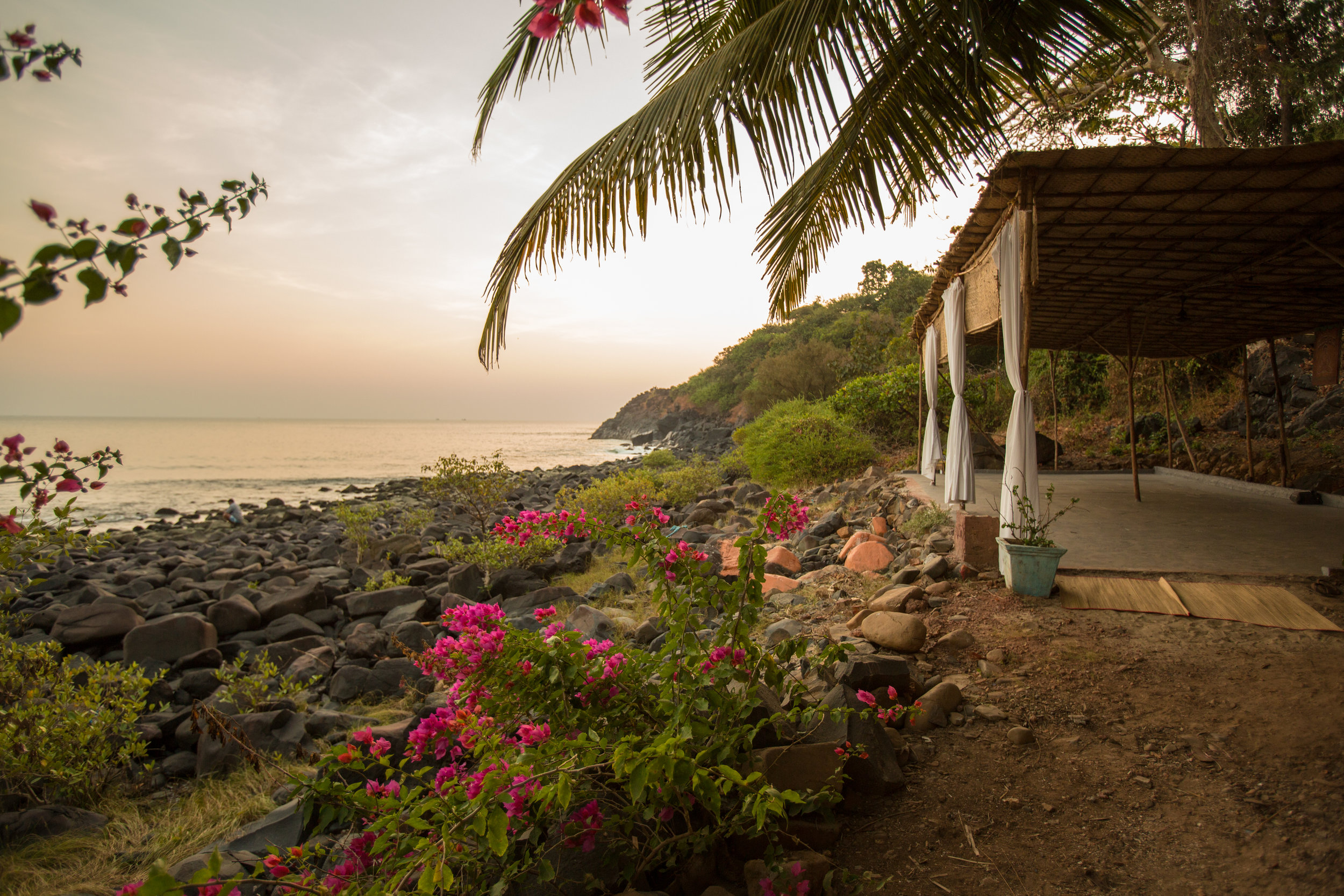 Yoga Explorers yoga retreat in South Goa - thatched roof, sea view shala