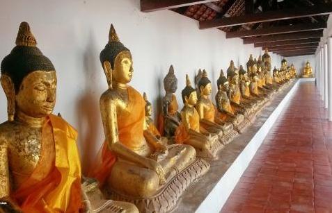 Buddha statues at Wat Phra Boromathat, Chaiya
