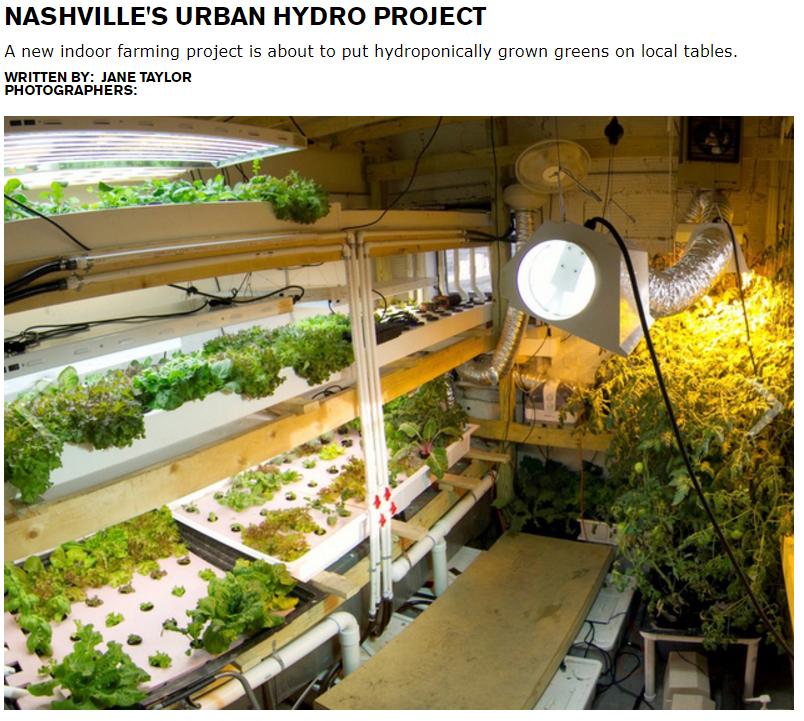 Nashville lifestyles - Jane Taylor  Locally grown, sustainable produce all year round. Not with a winter climate like ours, right?  Think again:  Jeffrey Orkin is revolutionizing the way Nashville views food with his indoor hydroponic farming project