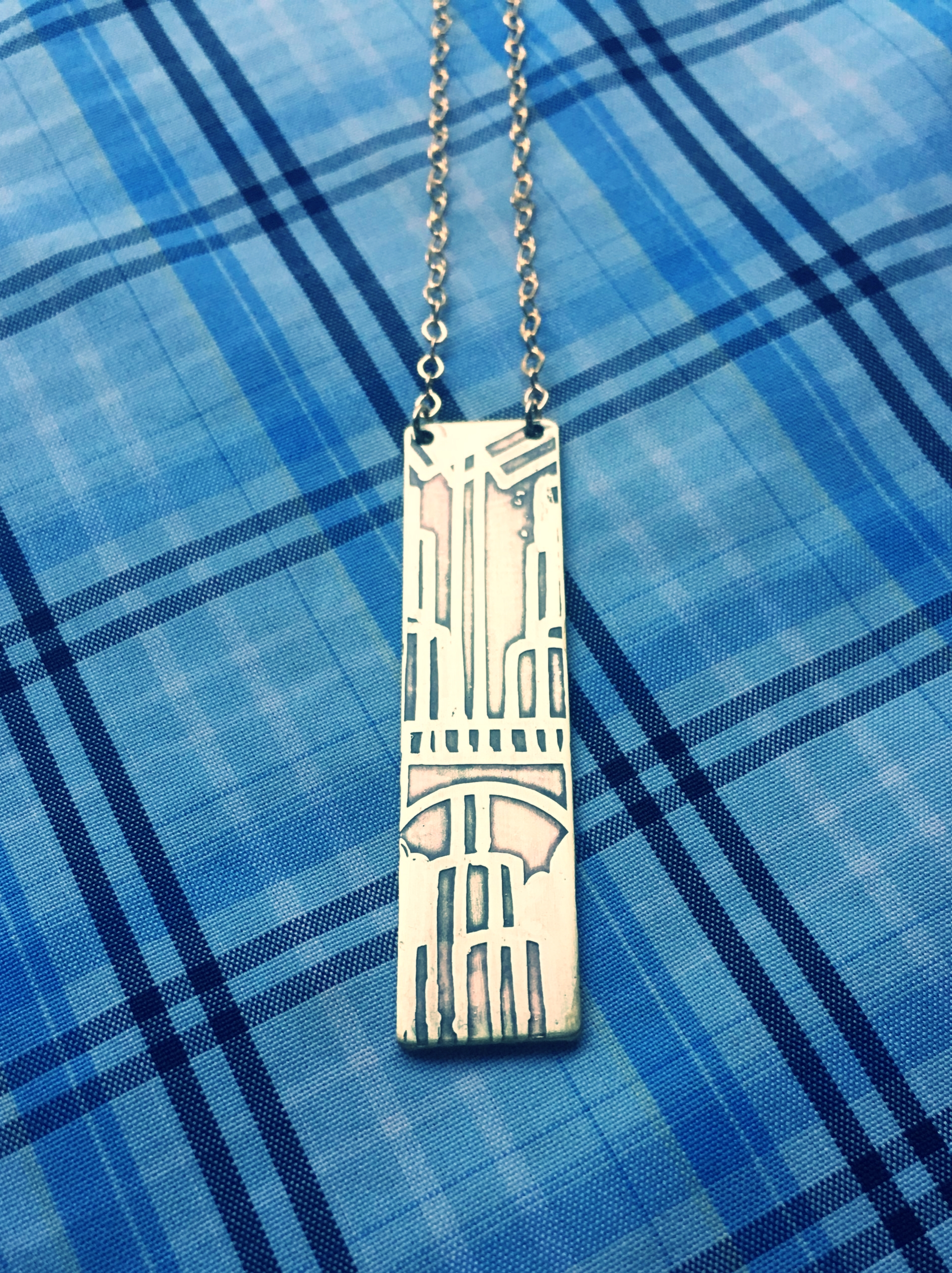Handmade Etched Multnomah Falls Necklace