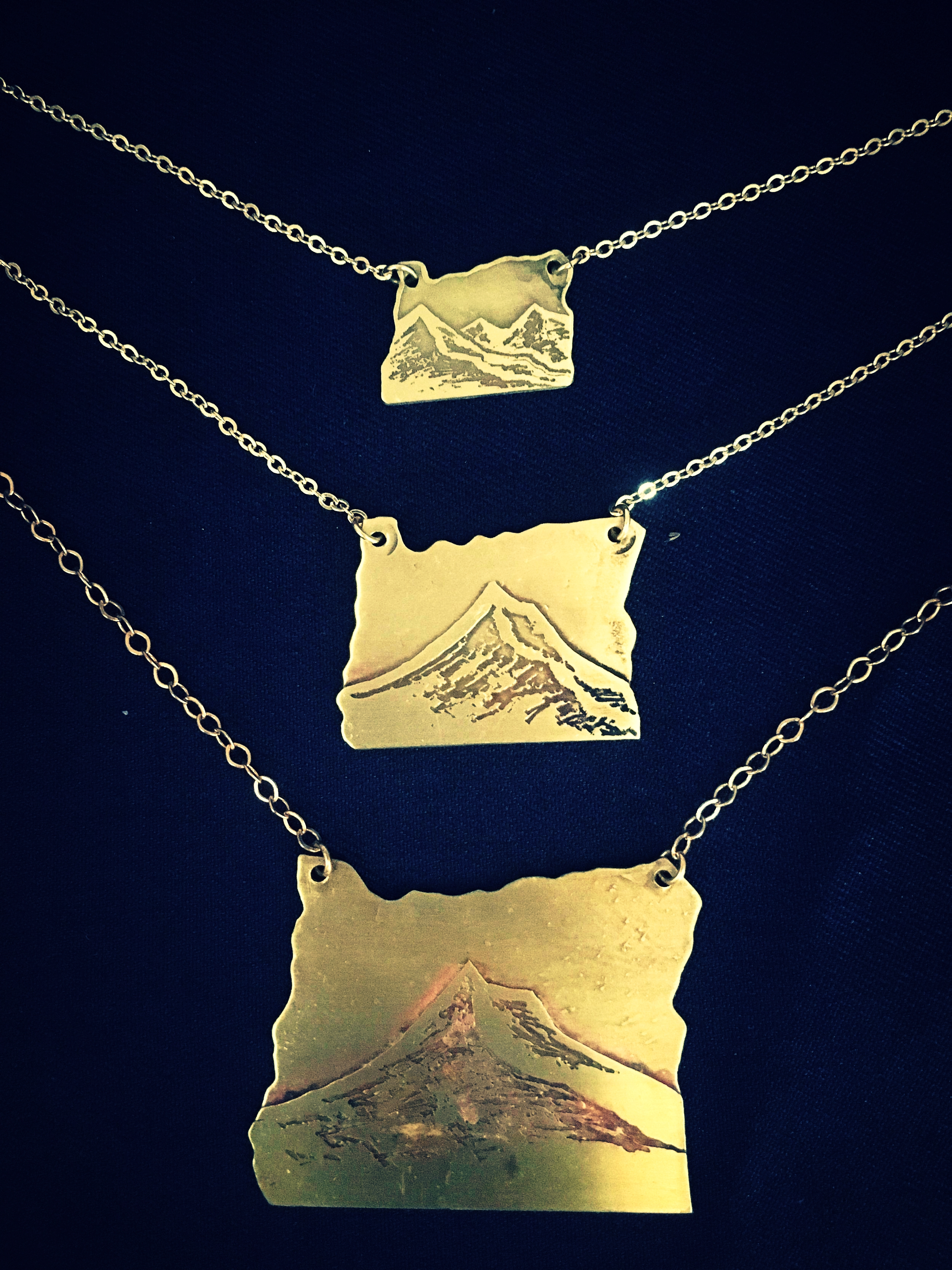 Handmade Handcut Oregon Cutout Necklaces