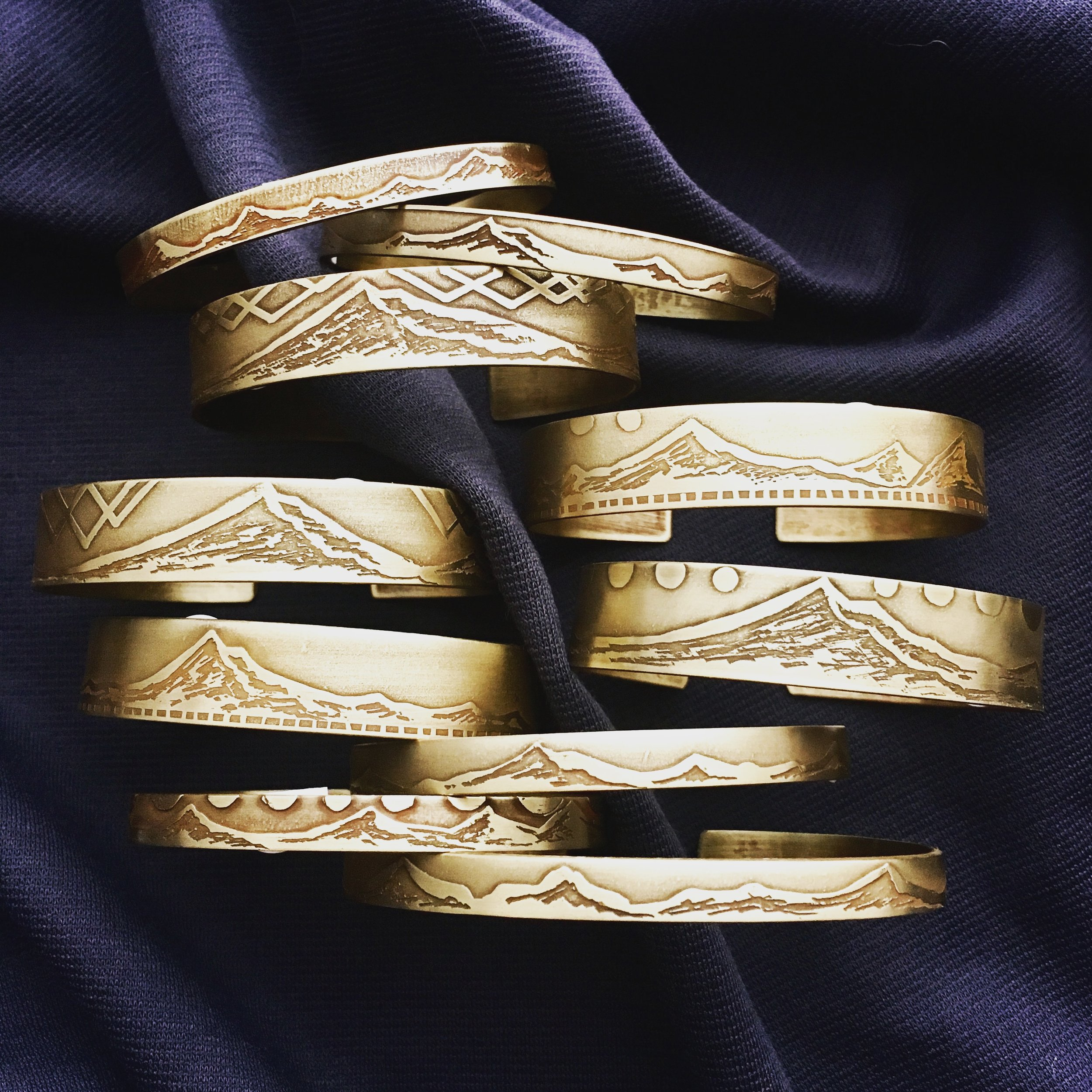 Handcrafted Etched Brass Bracelets