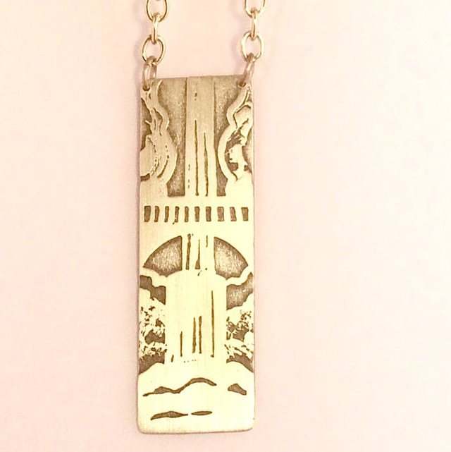 Multnomah Falls Etched Necklace