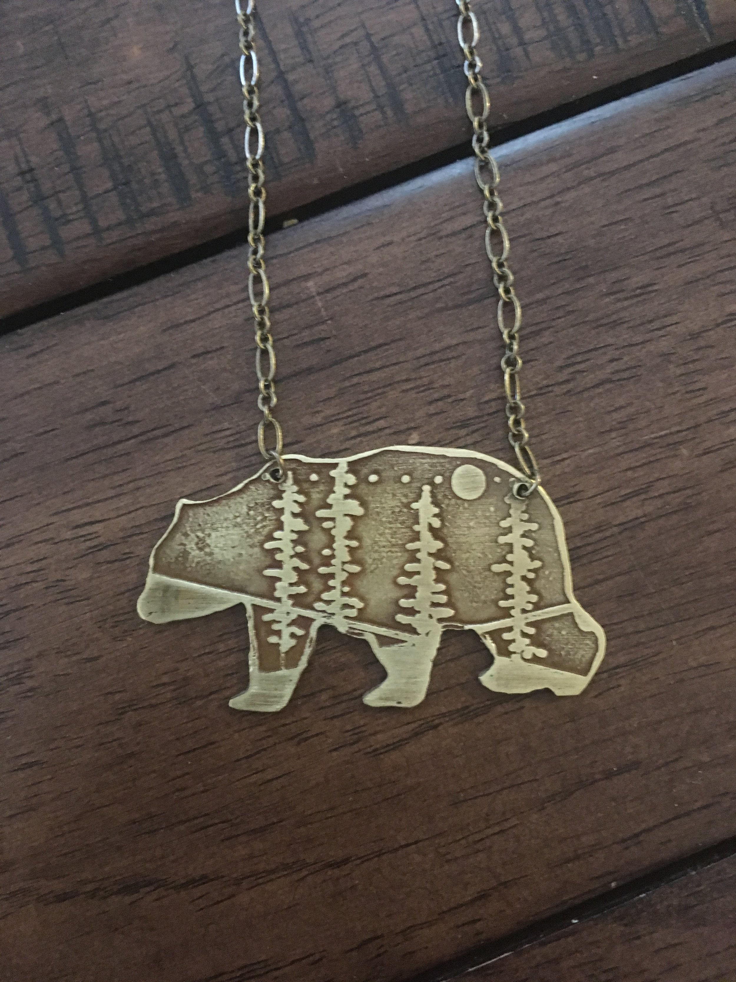 Black Bear Etched Cutout Necklace
