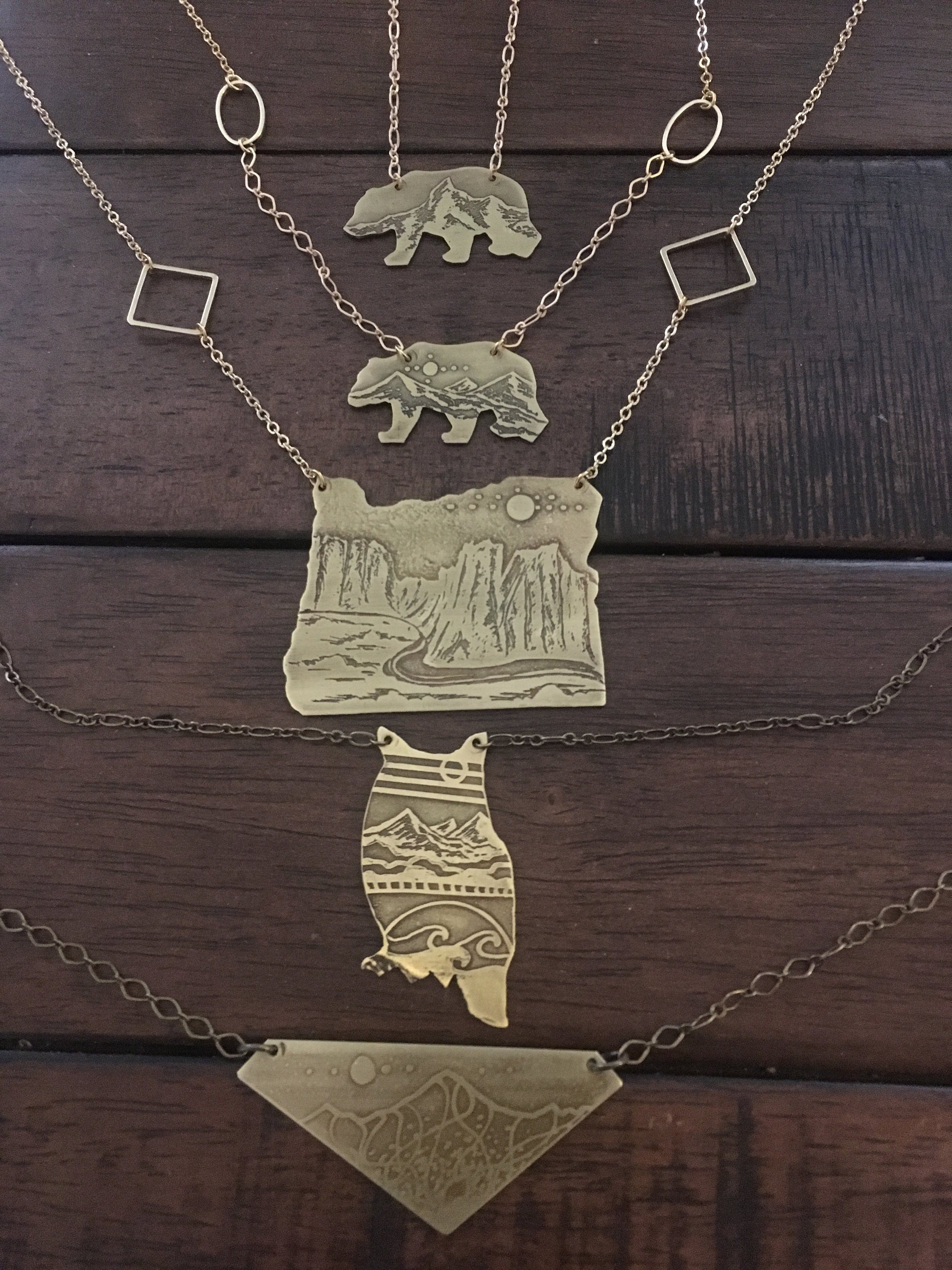 Various Cutout Etched Necklaces