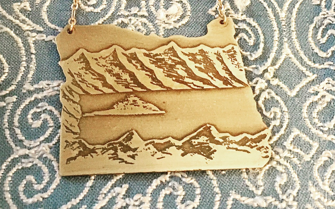 Oregon Cutout Etched Crater Lake Necklace