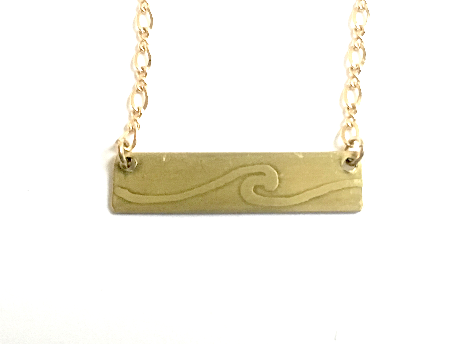 Ocean Waves Etched on reverse side of mini-bar necklace