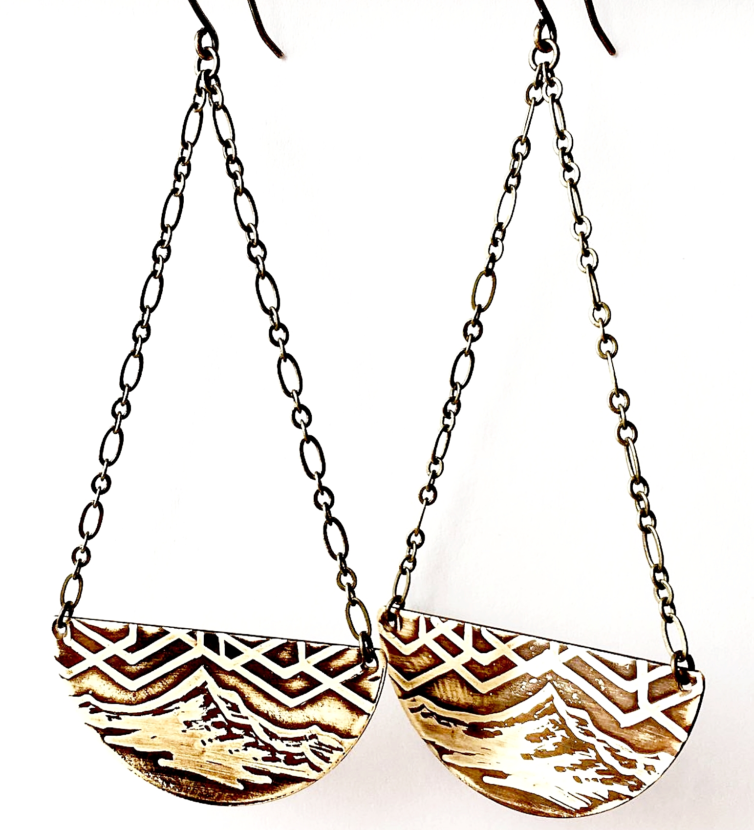 Mount Hood Half Circle Drop Earrings Handmade Acid Etched