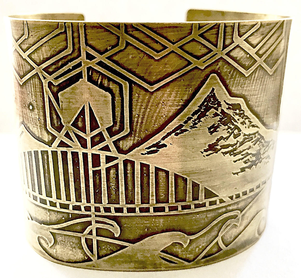 Handmade, Hand Drawn, Acid Etched, Mount Hood Extra Large Cuff Bracelet