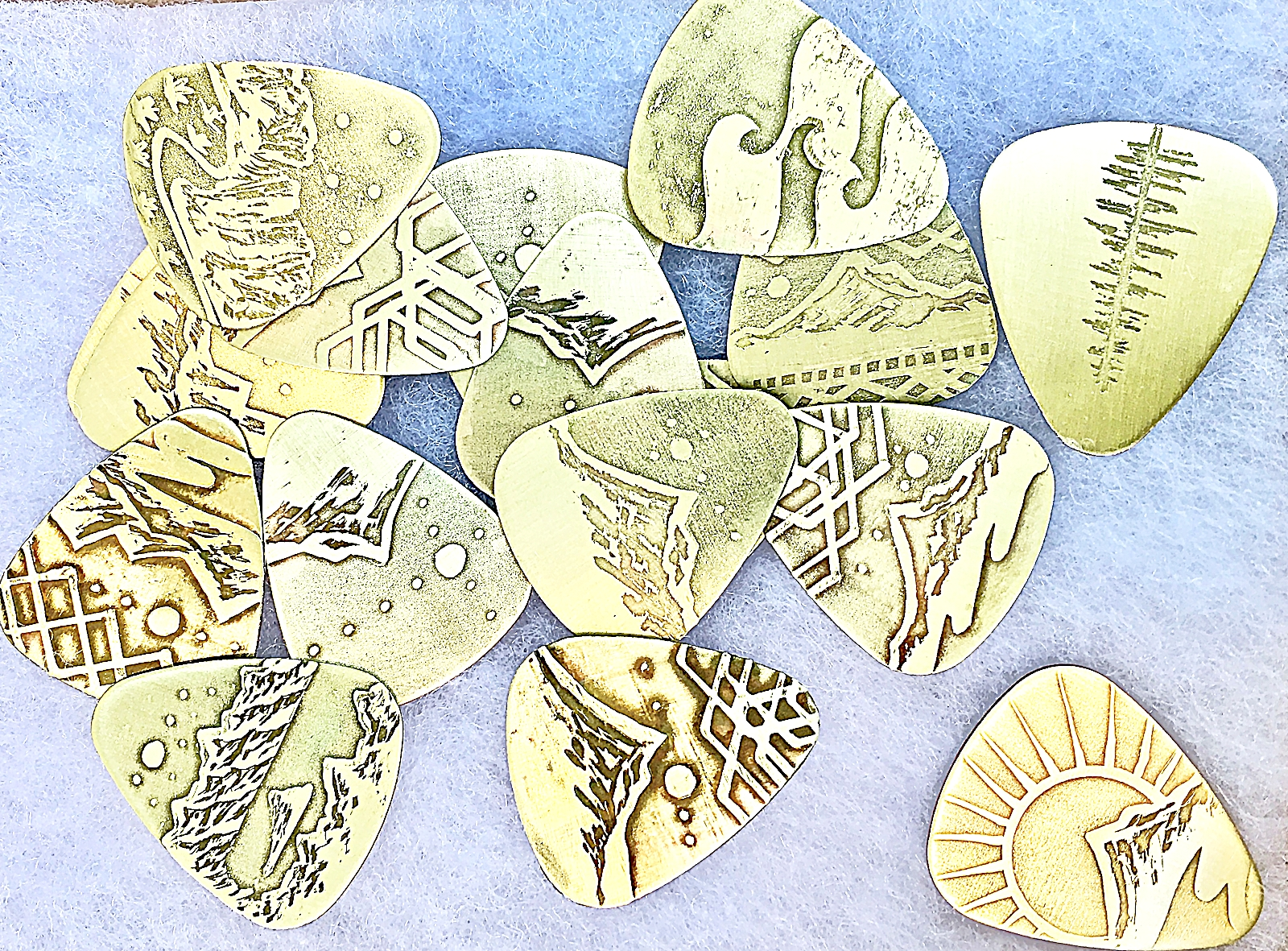 Handcrafted Handdrawn, Acid Etched Gutiar Picks