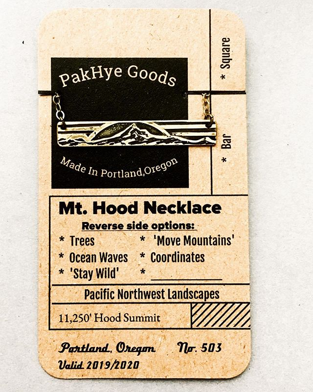Excited to share our new display cards for the bar and mini necklaces 🧡  Inspiration for this was a combination of vintage lift tickets and library cards.  Currently working on a stamp and hole punch to complete the design.  #pacificnorthwest #necklacecards #packagingideas #handmadepackaging #portlandsaturdaymarket #handmade #handmadejewelry #pakhyegoods