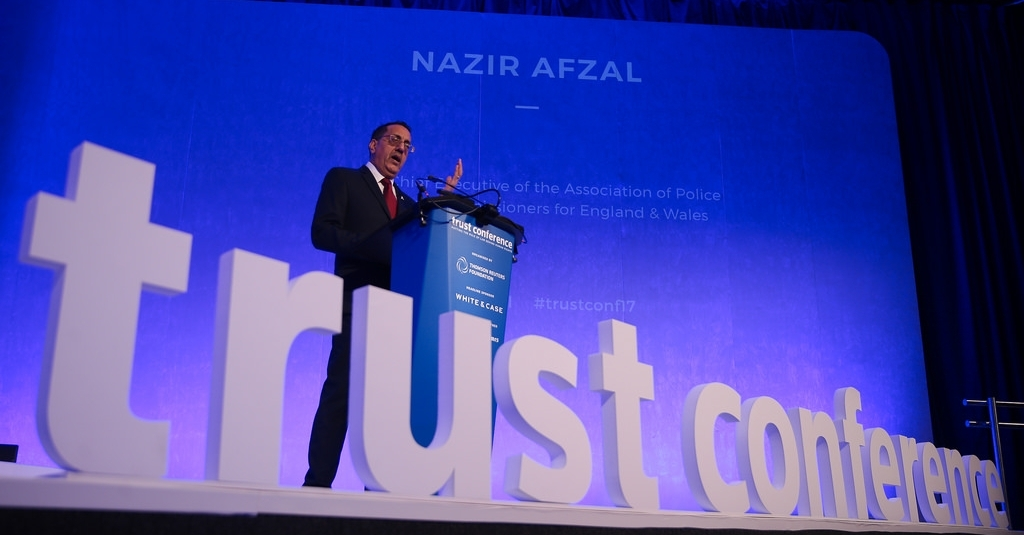 Nazir Afzal, former chief executive of the Police & Crime Commissioners for England & Wales, speaking at the Trust Conference in London. (Image credit: Thomson Reuters Foundation.)