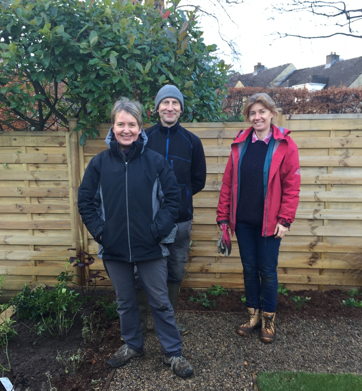 "The planting team Helen and Ian with Rachel Forbes, Landscape Designer.   Testimonial   ""Helen provided a very thoughtful planting design, developing my initial idea of using a simple green and white palette"". (Steph Atack)"