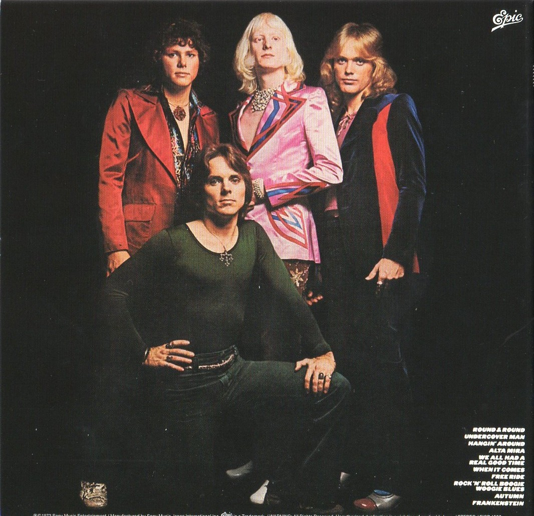 "Back cover, ""They Only Come Out at Night,"" 1972 -- from left, Dan Hartman, Ronnie Montrose, Edgar Winter, Chuck Ruff"