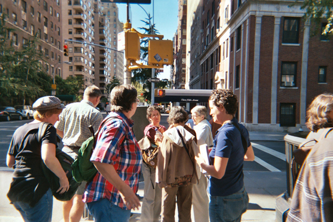 Some of our bookstore tourists get ready to scatter after arriving on lower Fifth Avenue in New York.