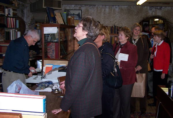Checking out at Baldwin's Book Barn in West Chester, PA during a Brandywine Valley literary trip.