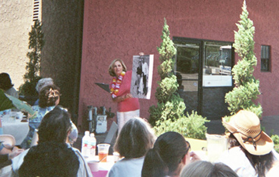 "Kathy ""Gidget"" Kohner speaks to a group over lunch at Diesel, A Bookstore in Malibu, CA during a ""beach towns"" bookstore tour sponsored by SCIBA."