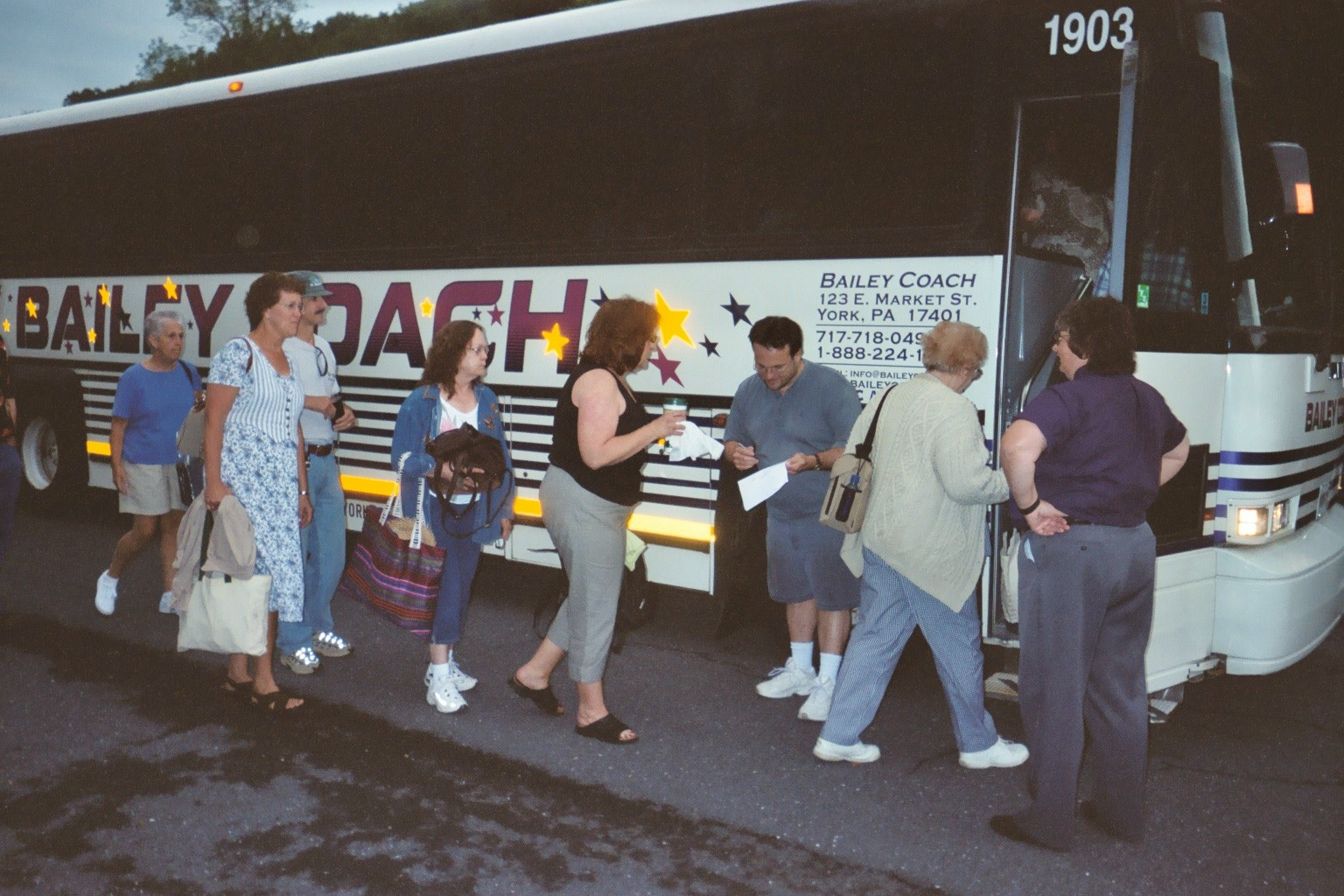 Boarding the bus for a Washington, DC trip that included bookstores in Georgetown and Dupont Circle.