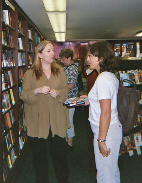 Maggie Griffin, left, of Partners & Crime, talks with one of our gang.