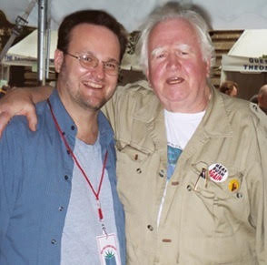 Malachy McCourt and I swap stories at New York is Book Country event.