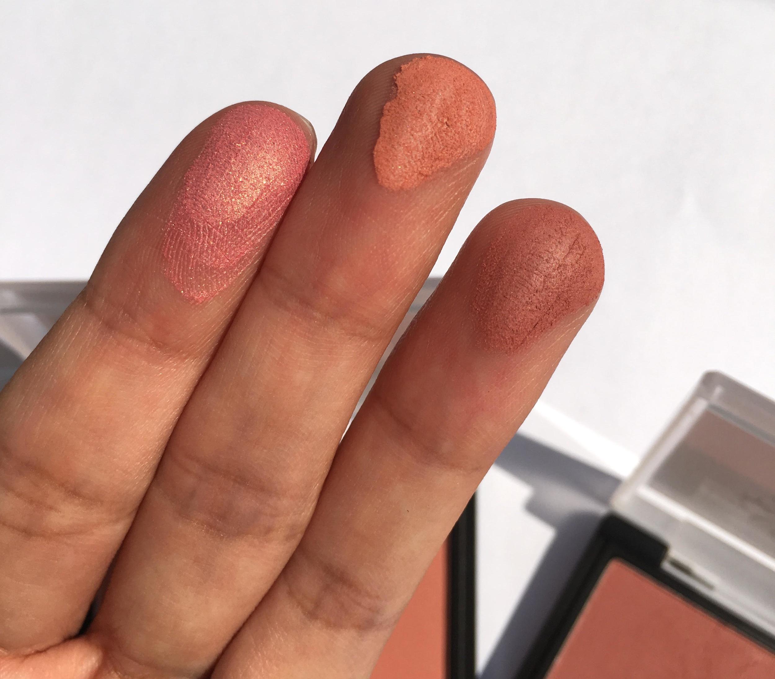Shades L-R: Shimmer Pink, Satin Coral, Matte Rose