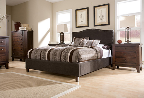 Dark Upholstered Bed with Nailhead at Belfort Furniture