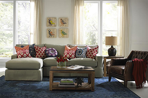 Fabric and Leather Living Room at Belfort Furniture