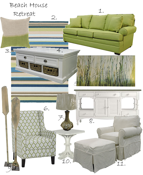 Items: (1)Kincaid Custom Sofa in Kiwi, (2)Surya Rain Rug, (3)Pillow, (4)Jofran Cocktail Table, (5)Leftbank Art River Bank, (6)Jeanie Accent Chair, (7)Silver Rope Lamp, (8)Stanley Coastal Living White Buffet, (9)Indo Set of Oars, (10)Belfort Select White Accent Table, (11)Rowe Nantucket Chair & Ottoman.