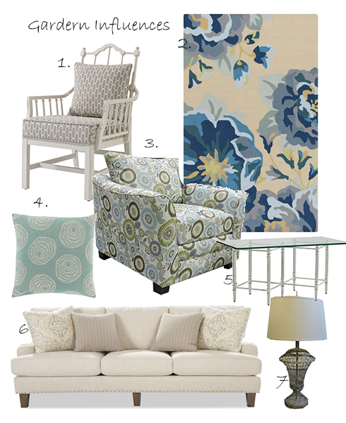 1.Stanley Furniture Chippendale Planter's Chair 2.Surya Rain Floral Rug 3.Belfort Select Hatfield Chair 4.Surya Sylloda 22x22 Pillow 5. Stanley Furniture Gardiners Table 6.Craftmaster Ellie Sofa 7.Tall Wire Lamp
