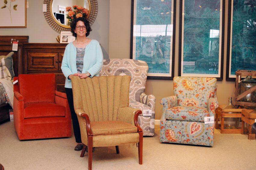 Sarah with her vintage chair at Belfort Furniture